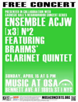 Poster for Ensemble ACJW on April 15