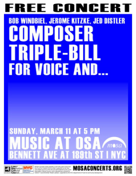 Poster for Bob Windbiel, Jerome Kitzke, Jed Distler on March 11