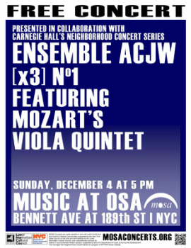 Poster for Ensemble ACJW on December 4
